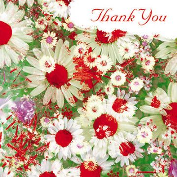"THANK YOU CARD ""BRIGHT GAIA DAISY FLOWERS"" SIZE 6.25"" x 6.25"" 9280 FLEH"